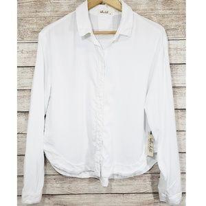 New! Bella Dahl White Button Down Shirttail Blouse